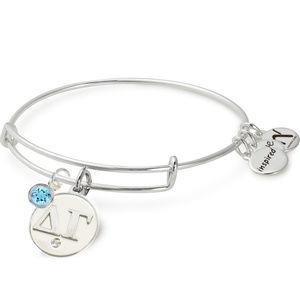 Delta Gamma Bangle Bracelet with Aquamarine Stone